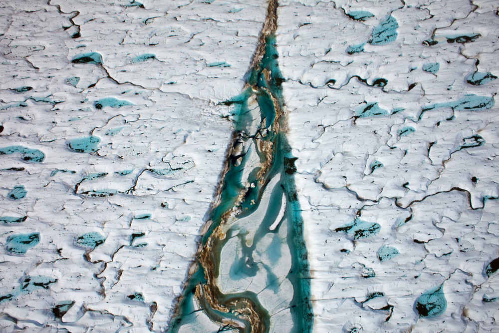Crack in the surface of Petermann Glacier on Greenland's north west coast