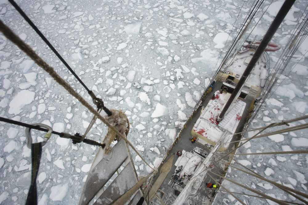 The frozen deck of ship viewed from the mast