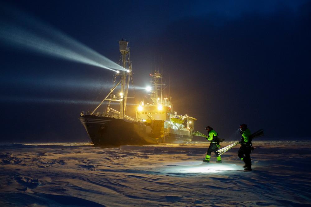 Scientists in polar night