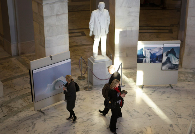Climate change photo exhibition by Nick Cobbing at Rotunda Capitol Hill, Washington DC