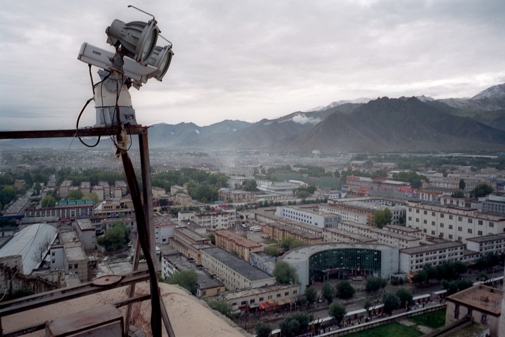 A CCTV camera watching over Lhasa from the Potala Palace