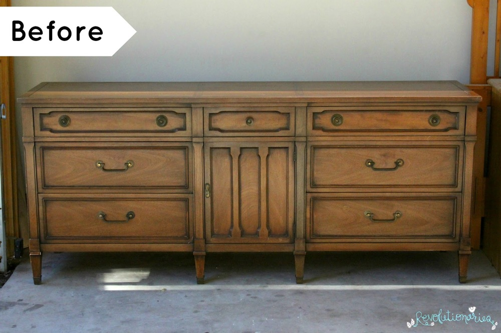 before and after antique white dresser and nightstands