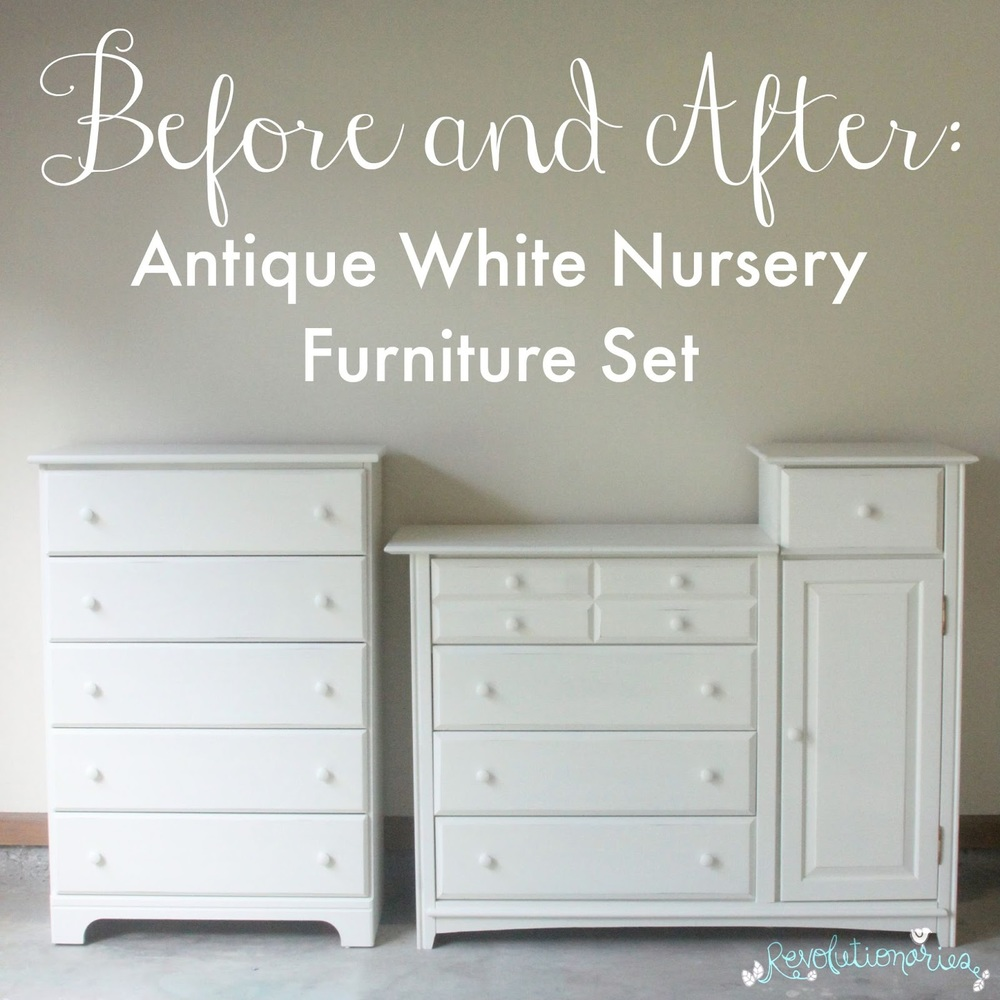 before and after antique white nursery furniture set