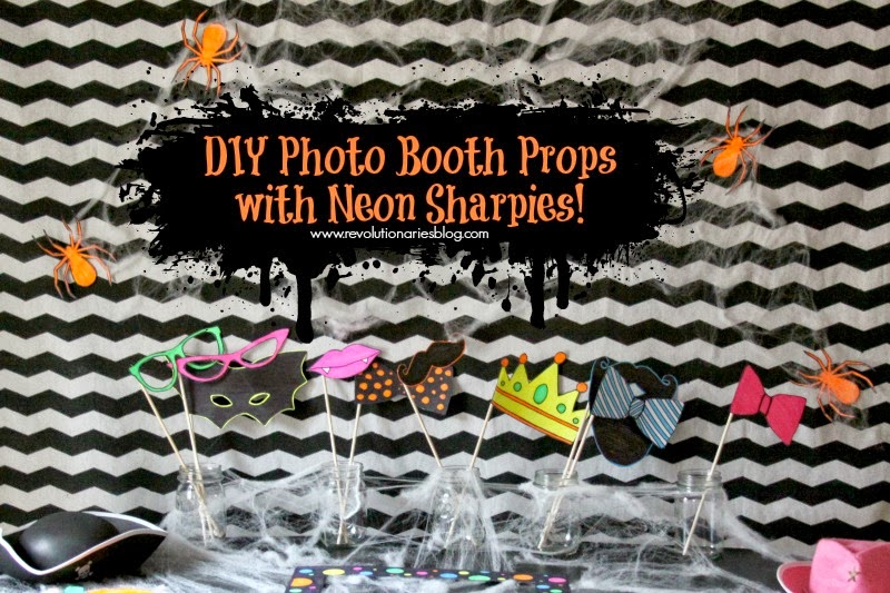 diy photo booth props with neon sharpies