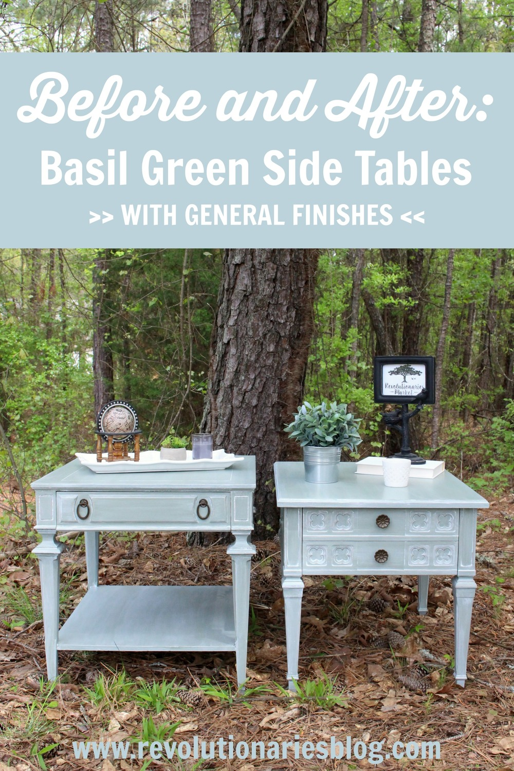 Before and After: Basil Green Side Tables
