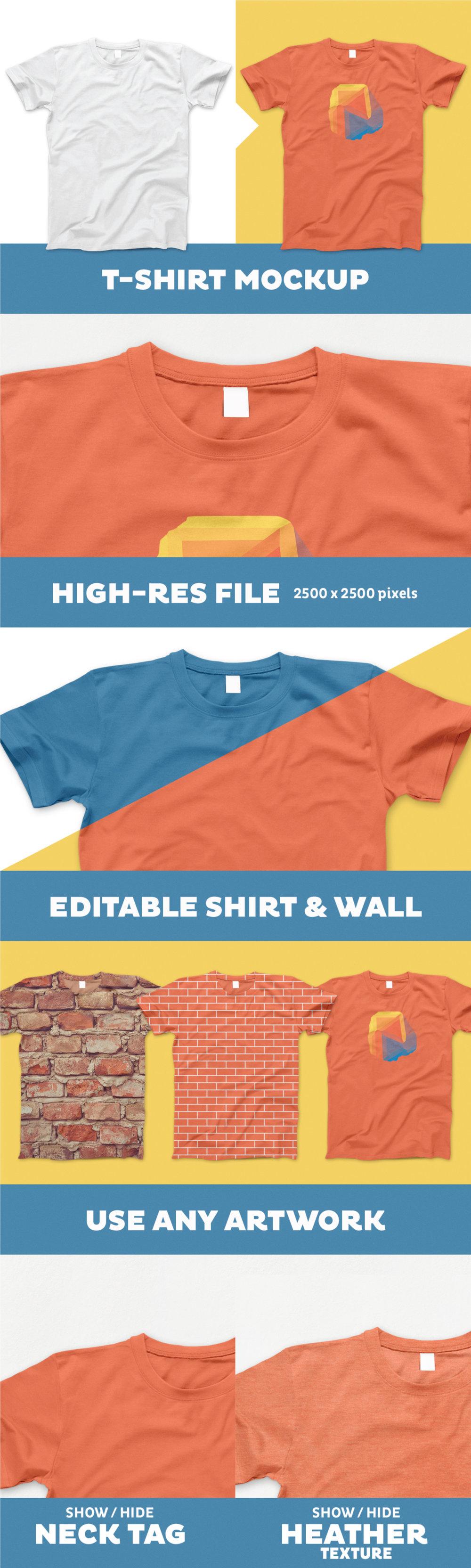 Free Editable T-Shirt PSD Mockup