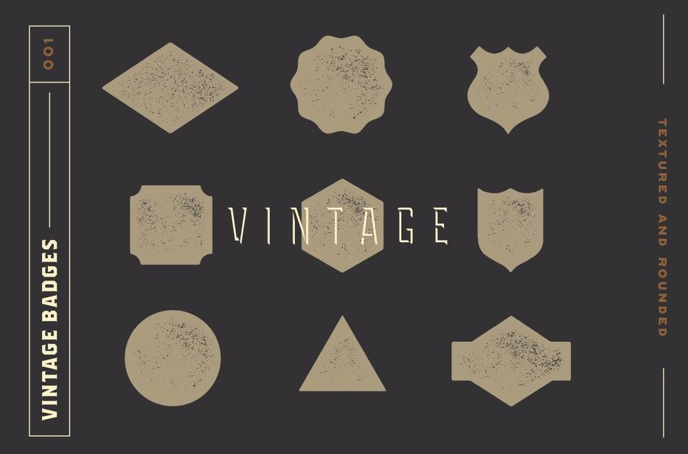 Free Vintage Badge Kit - Textured & Rounded