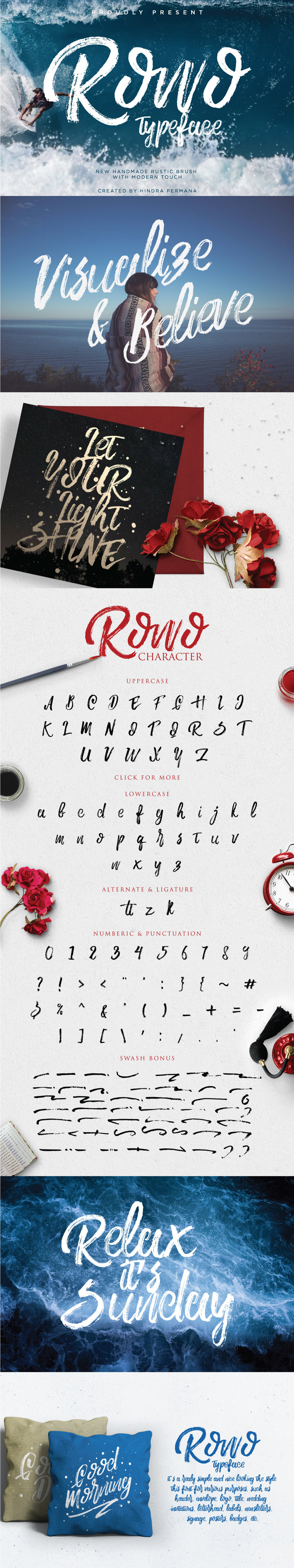 ROWO Free Brush Typeface Commercial Use