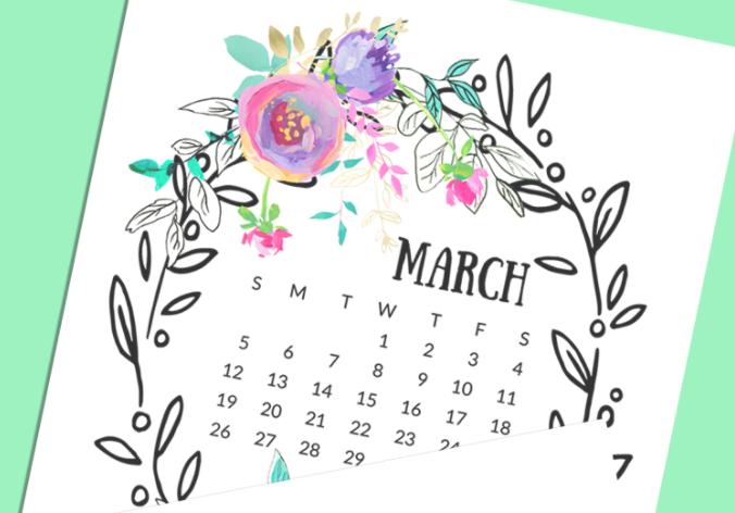 Free Floral Printable Calendar