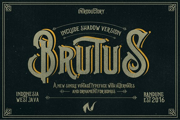 Brutus Vintage Layered Typeface with Ornaments