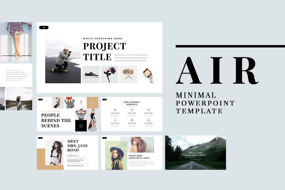 Air Minimal Powerpoint Template Pixel Surplus Resources For
