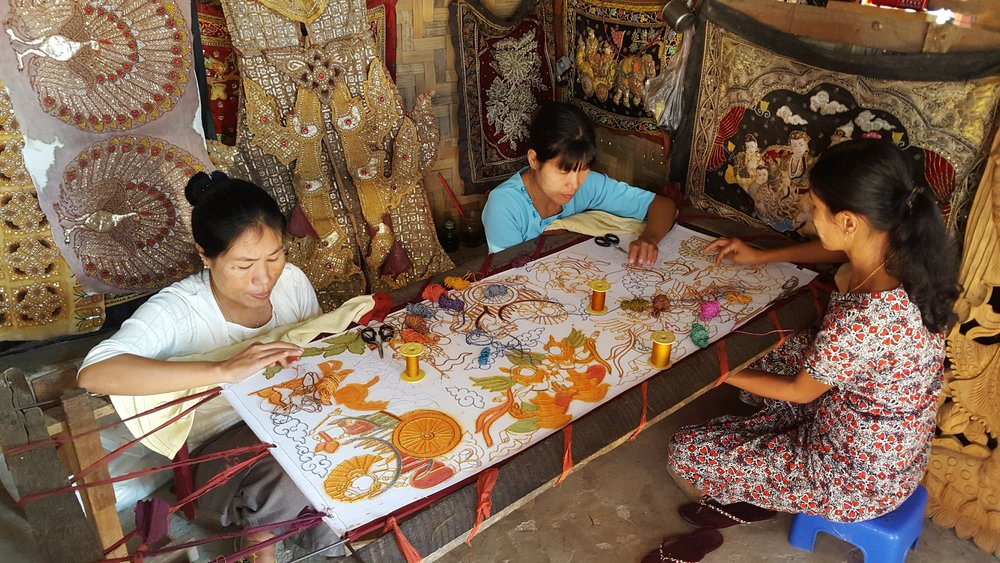 Mary Ava shared her photo of the women stitching on the porch of the shop in Mandalay,  Myanmar where she purchased her sequined piece.