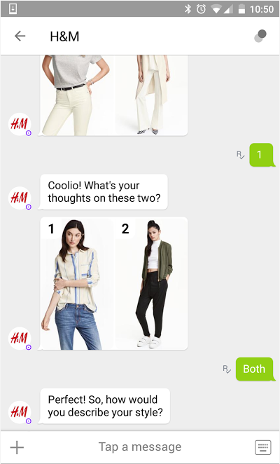 H&M's mediocre chat bot implementation