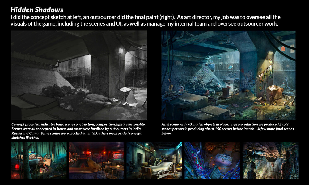 My scene concept art and the final paintover