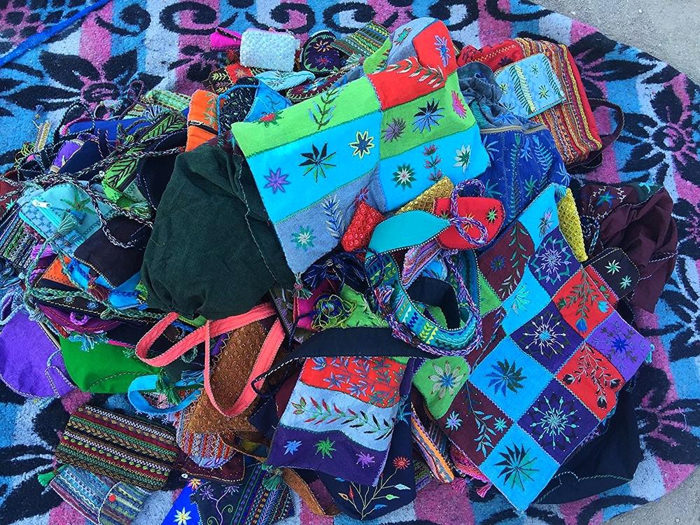 A pile of Bedouin handicrafts