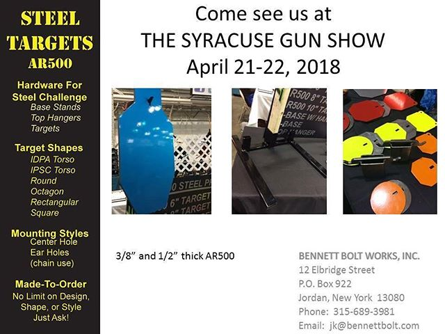 Come see us at the Syracuse Gun Show on April 21-22. We are accepting pre-payments on all targets and stands which will ensure pickup at the show! ▪️ For quotes call (315)689-3981 ▪️ #bennettboltworks #bennettbolt #ny #newyork #america #merica #manufacturing #guardrail #highwayguardrail #construction #bridgeconstruction #machineshop #steel #aluminum #structuralsteel #steel #bolts #anchors #galvanized #galvanizing #anchorbolts #usamade