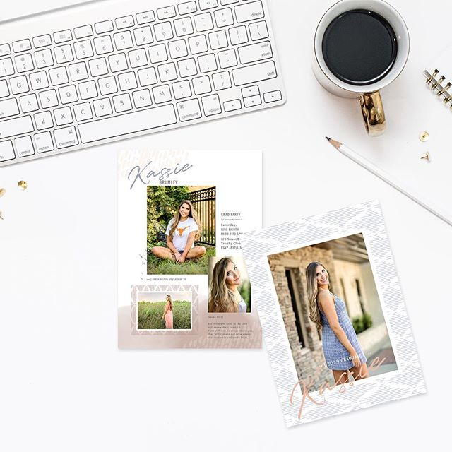 It's almost grad party season! Did you know when you book your senior portraits with KSP, you get access to our Grad Catalogue where you'll get to choose from over 70 different grad card designs!?! 🤩 And we can even customize the colors, fonts, etc. to make them uniquely yours & one-of-a-kind!  Check out Kassie's beautiful graduation party invites is we just created.💕