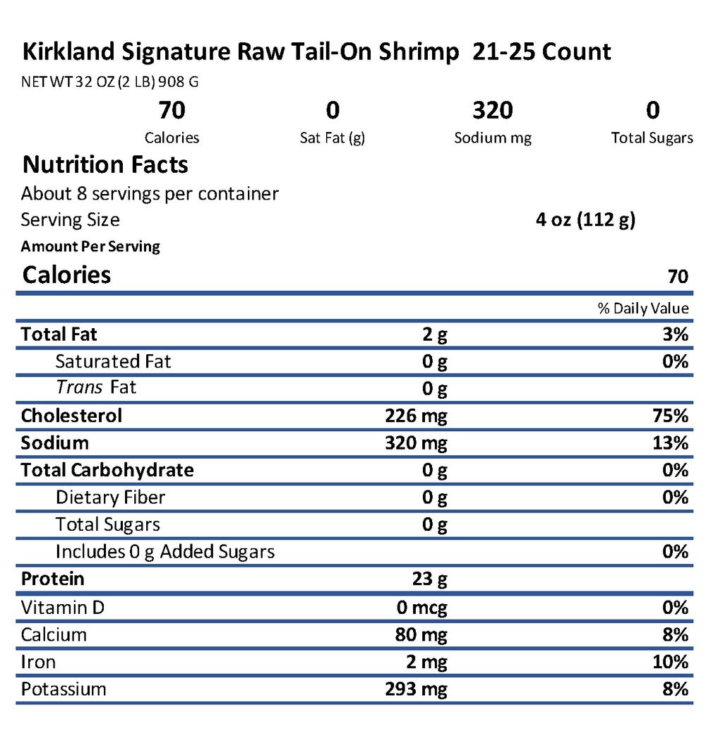 Kirkland Signature Shrimp Nutrition Information Box.png
