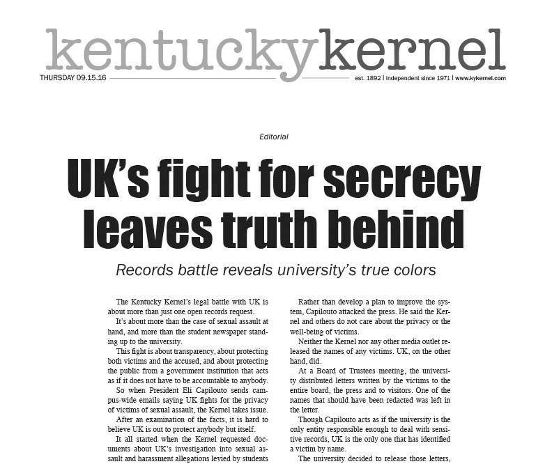 Front page Kentucky Kernel editorial, from  kykernel.com .