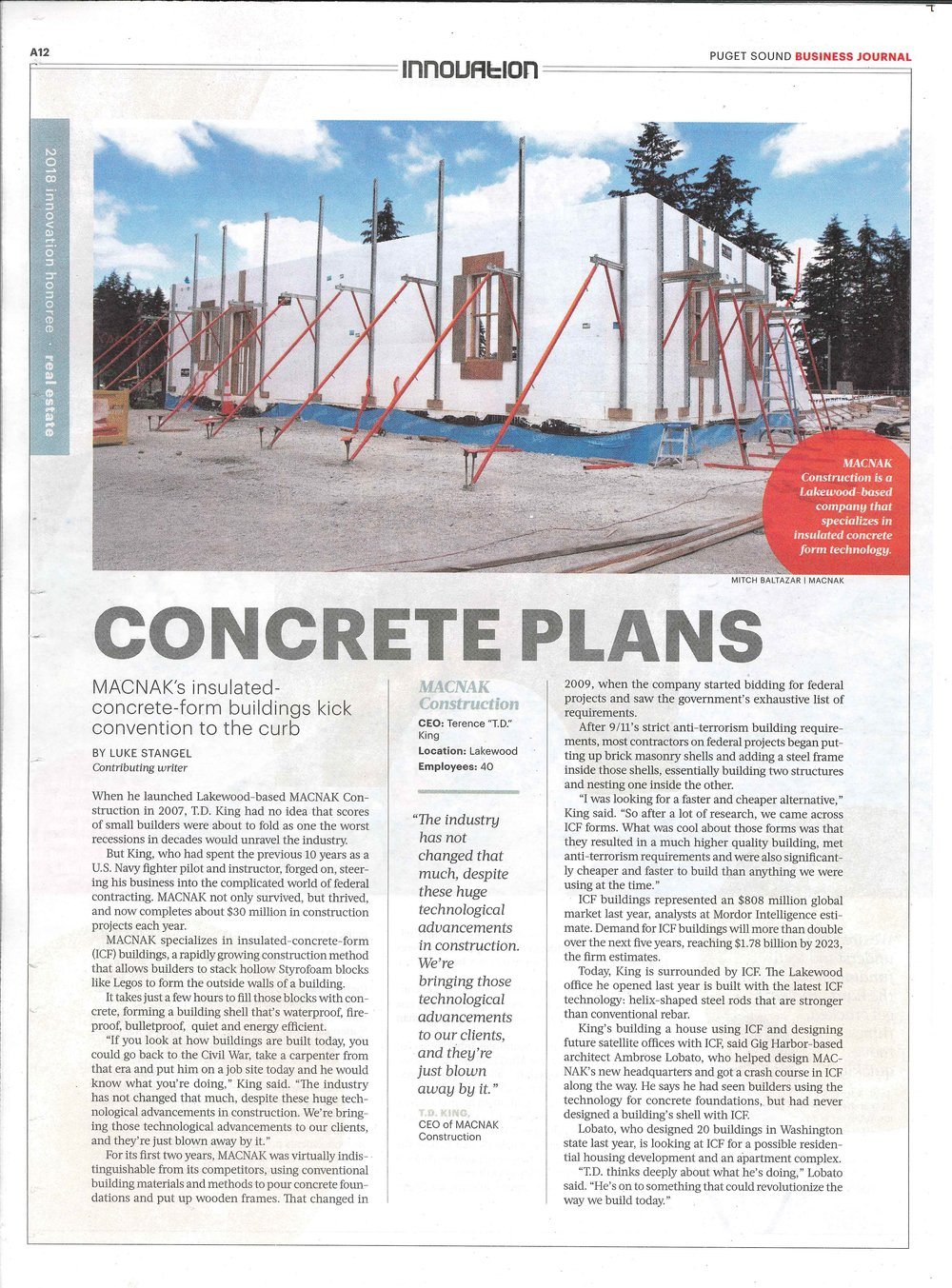 Thank you Puget Sound Business Journal for honoring MACNAK Construction with the 2018 Innovation Award in Real Estate/Construction! MACNAK is committed to bringing you energy efficient and technologically advanced custom homes at the same cost of traditionally built homes!