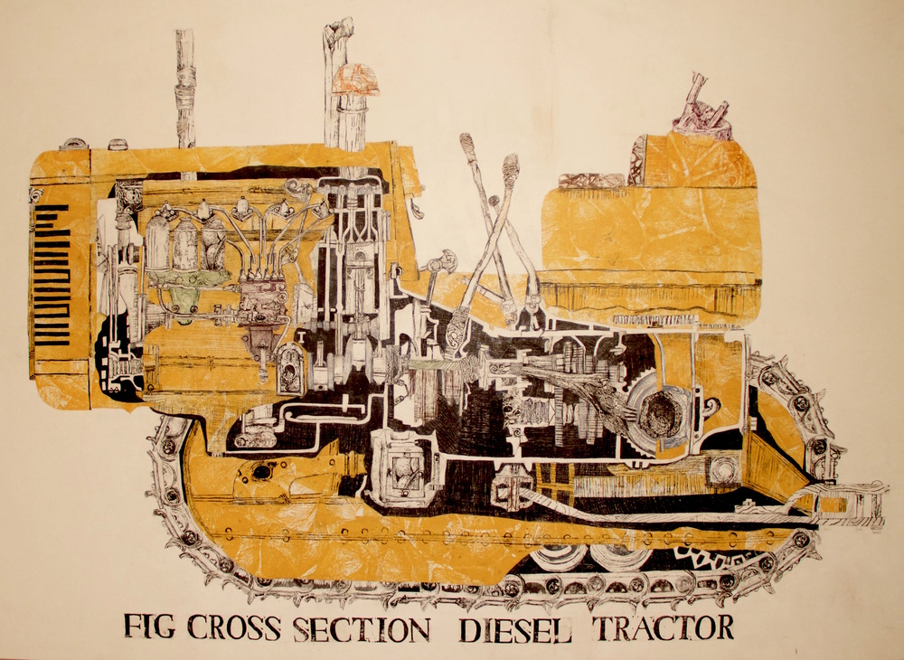 "Tractor  woodblock prints on kozo paper on wood panel  46"" x 61""  2014"