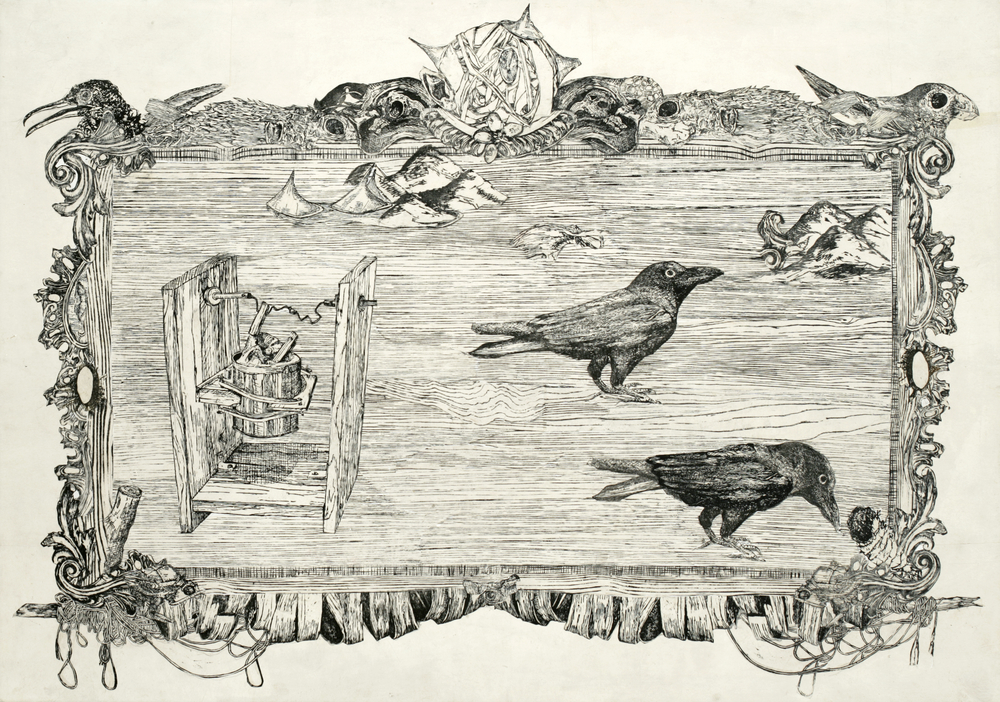 "Two Ravens  woodblock prints on kozo paper on wood paper  40"" x 58""  2006"