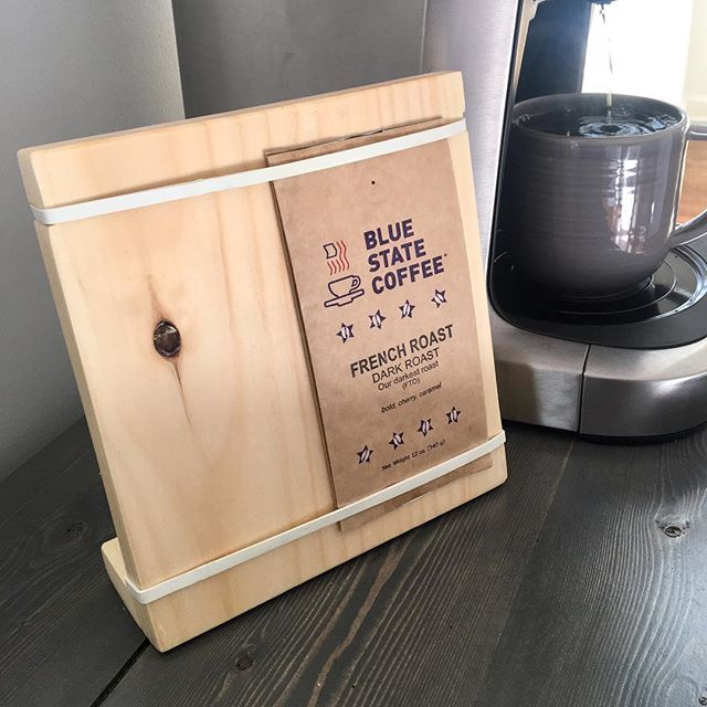 #coffee #nowserving @bluestatecoffee :) #monthofmaking #day2 project is now complete! Display for our #coffeebar complete with pocket in back to keep track of our #favorites.  Made with scrap wood and 2 rubber bands! #freebie #drinklocal #makelocal #madeinct #coffeeoftheday #riseandgrind #riseandmake