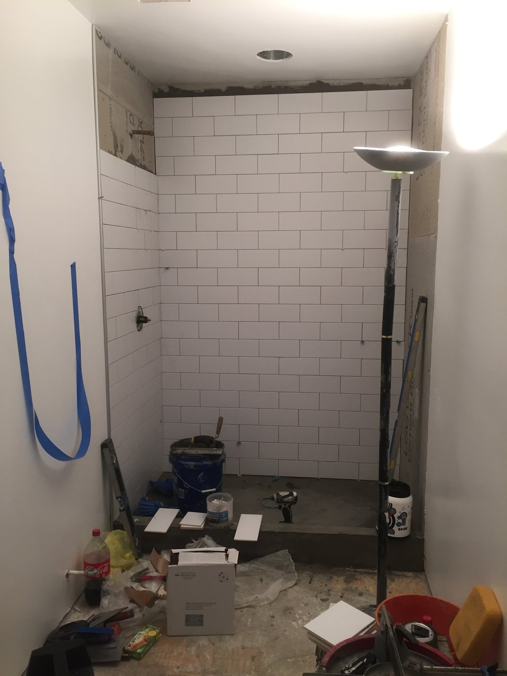 This was one of the most exciting parts, the shower going in! This for me meant that we were nearing the end at last!
