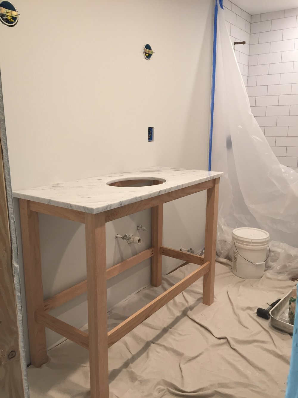 Testing out what the vanity may look like in the bathroom...