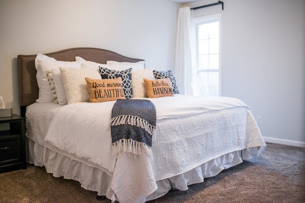Wanted to include our completed bedroom as well! I had way too much fun purchasing a million pillows for our new bed! I have a problem really with how many I bought.