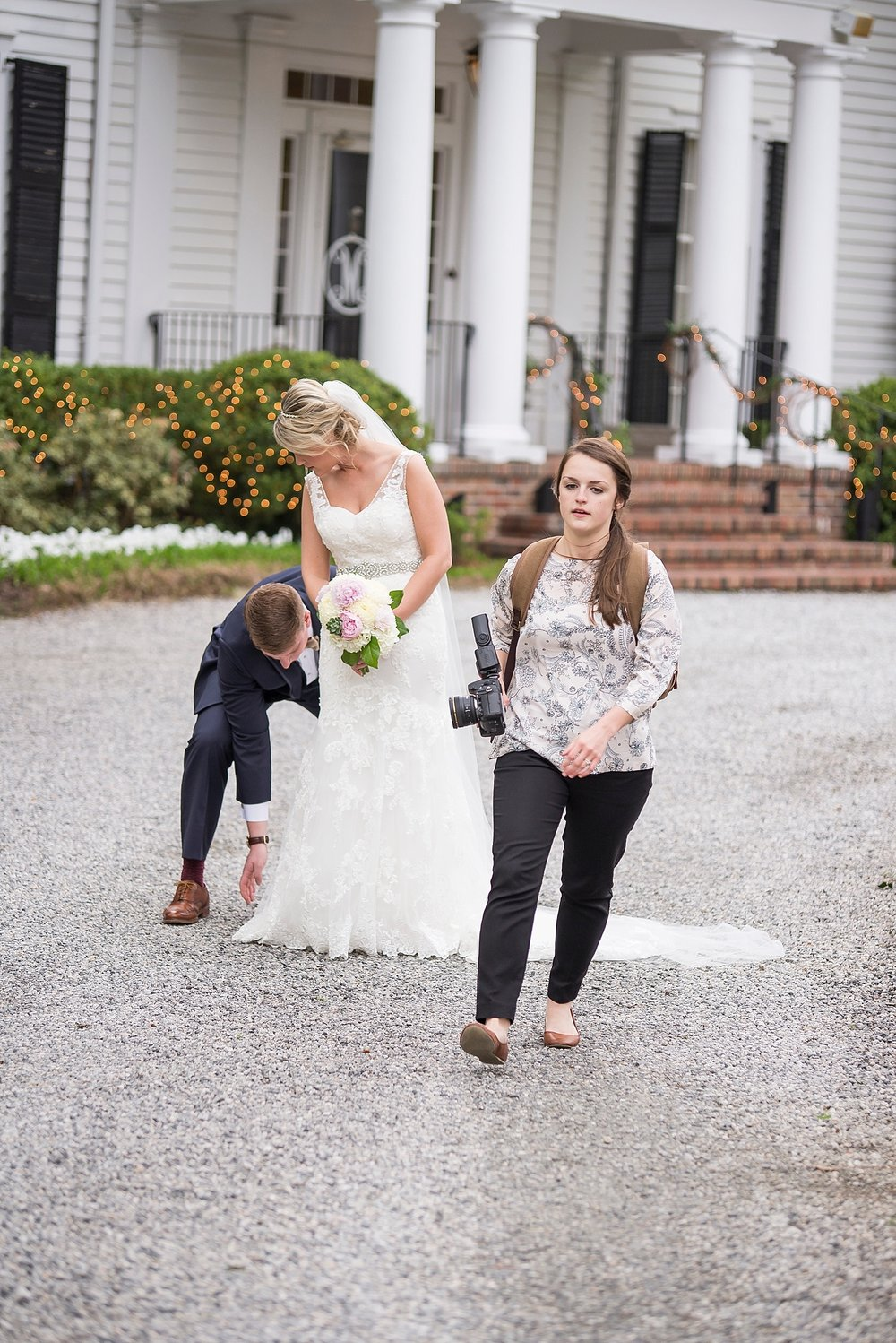 """And apparently giving up on the dress and walking away...? I promise I'm happy here! This is what I would call """"my seriously on a time crunch"""" face."""