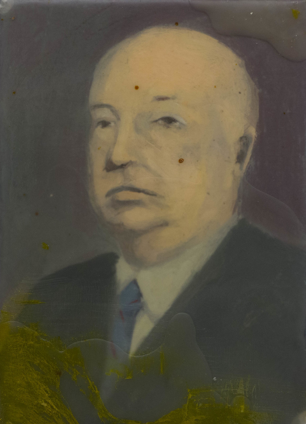 Portrait of Alfred Hitchcock  5 x 7 in  oil, mix media on panel
