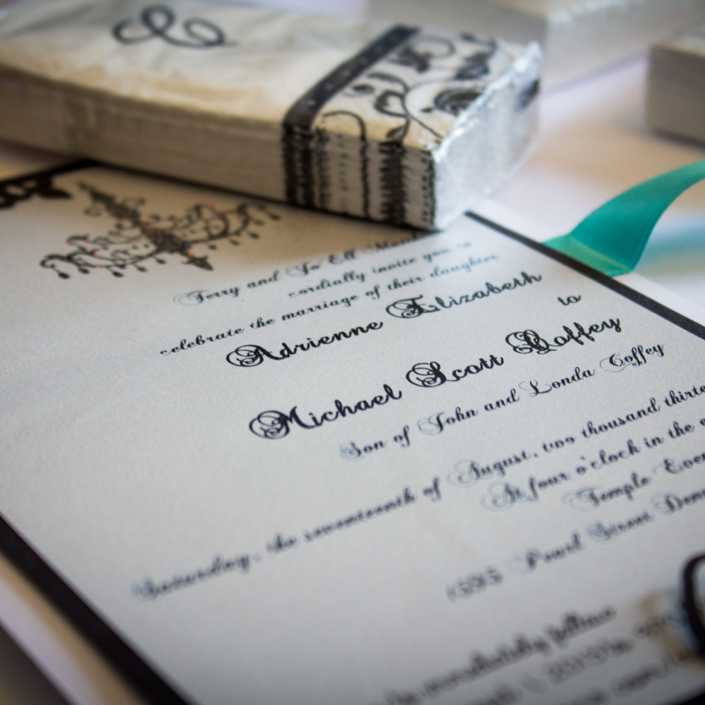 Invitation Design Don't stress about getting save the dates, invitations, or RSVPs out on time.  We work with Denver's highest quality specialists to design, produce and distribute them.