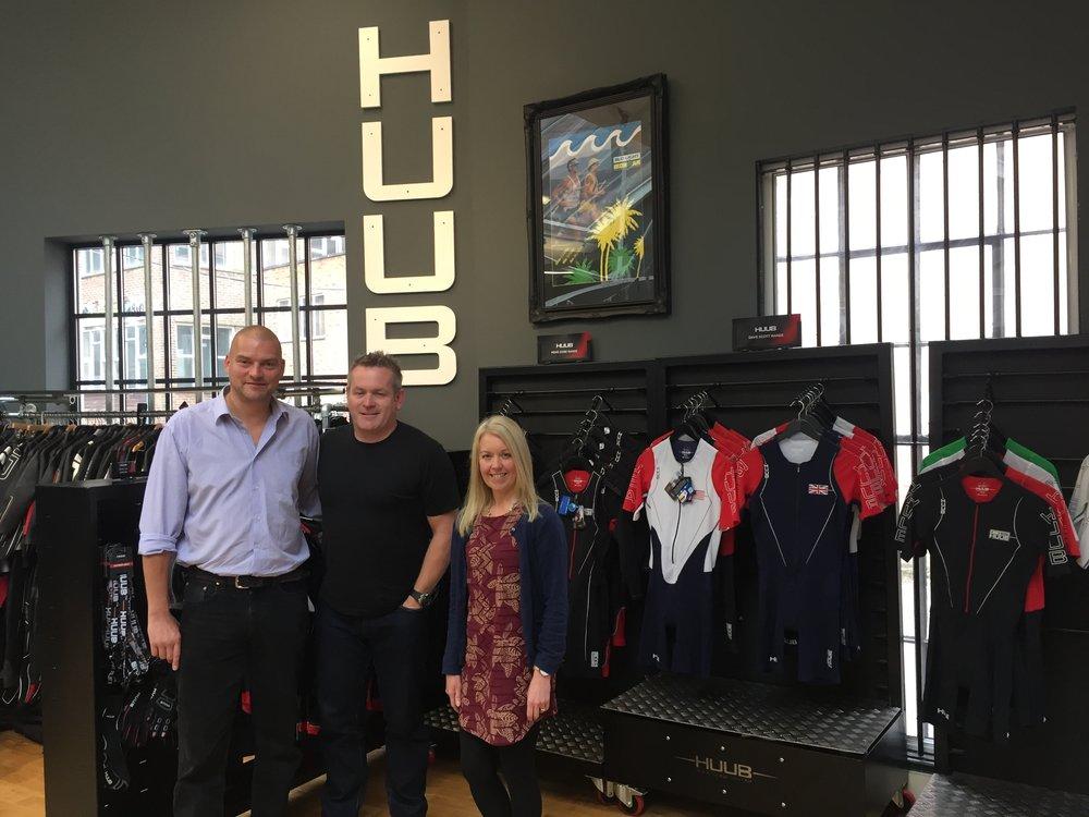 Visit in HUUB headquarter in Birmingham, UK. From left: CCO Alex Ingildsen, LTP Group, Founder Dean Jackson, HUUB,Gill Donaldson, Development partner Peak Sourcing   Limited