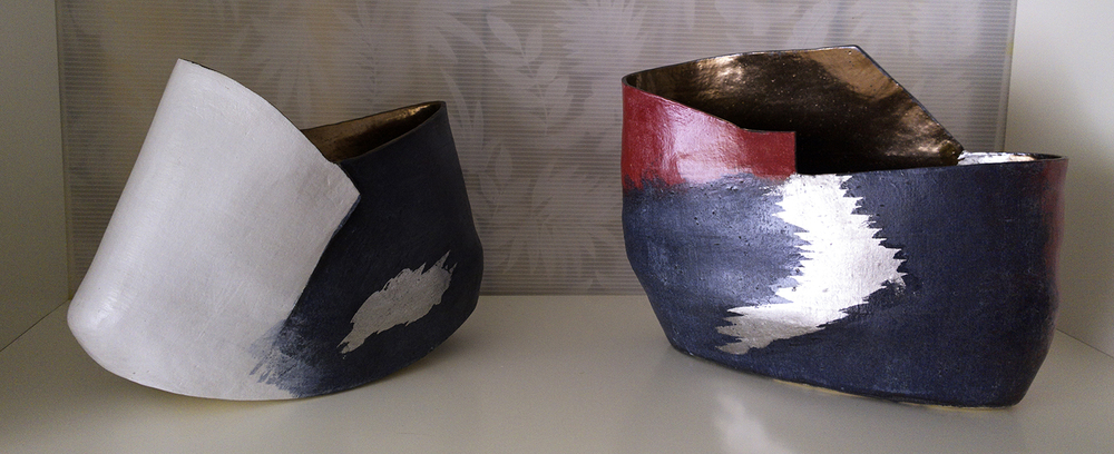 Ceramic vases with a splash of palladium shown in the Salt Spring Island Ceramic Awards- the prestigious juried show held October 6 - 16, 2016, on Salt Spring Island