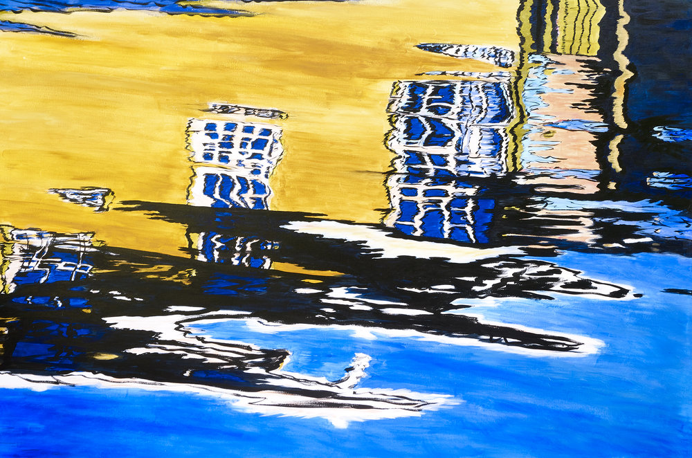 "MOVING ABSTRACTION - VICTORIA BOATHOUSES   ACRYLIC ON CANVAS  72"" * 48""    - Sold"