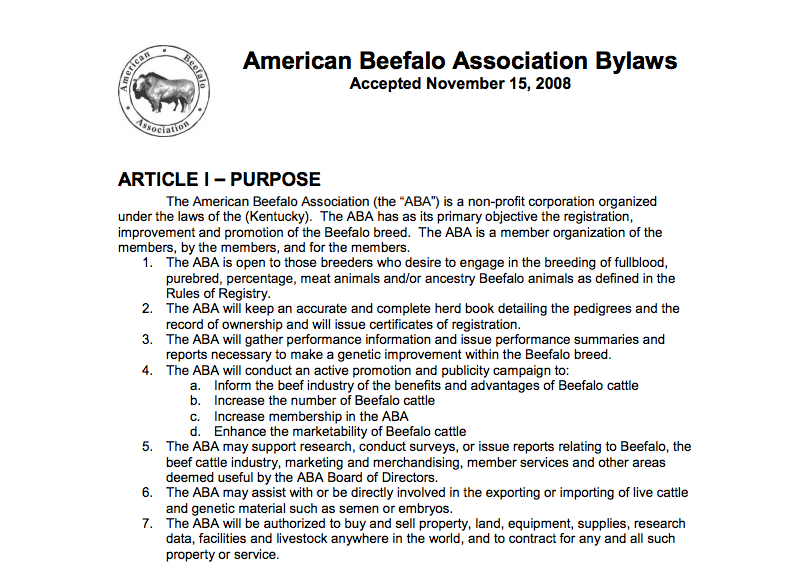 American Beefalo Association Bylaws