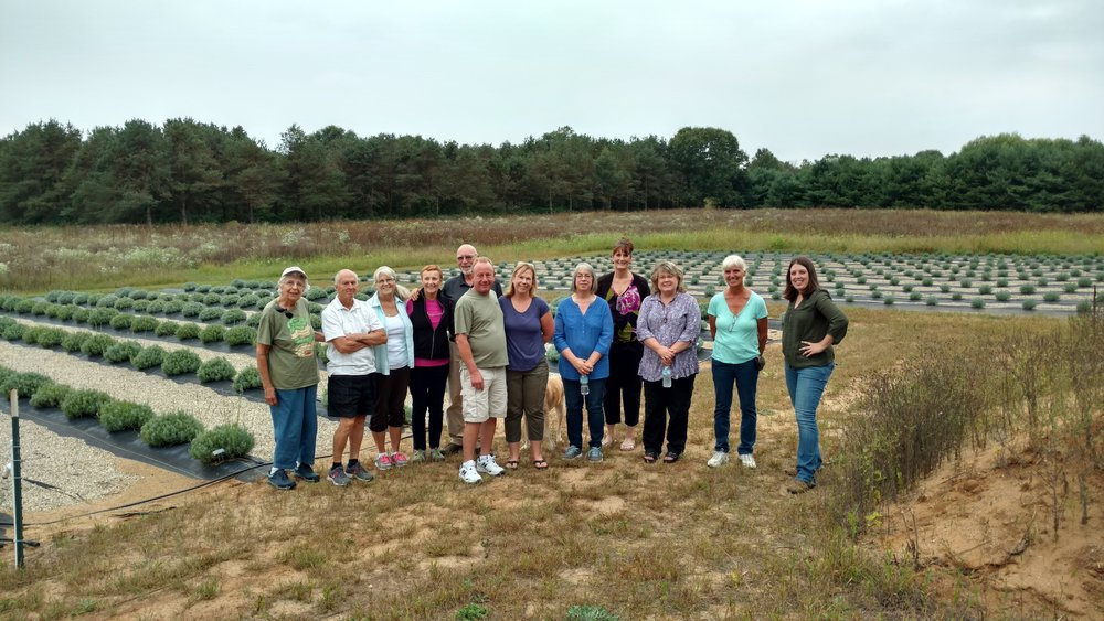 The Great Lakes Lavender Growers region 8 group. These are the members that were able to travel for our regional meeting. Extradorindary group of people!
