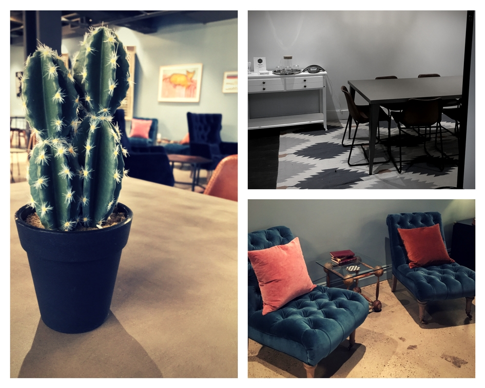 Fig 5A: (left) cactus on meeting table; Fig 5B: (top right) conference room available for renting; Fig 5C (bottom right) extra seating.