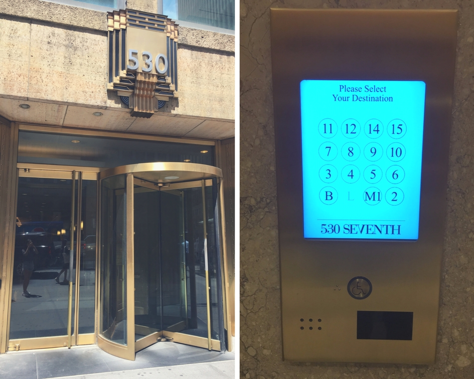 Fig 1A: (left) revolving door to building; Fig 2A: (right) keypad near elevator.