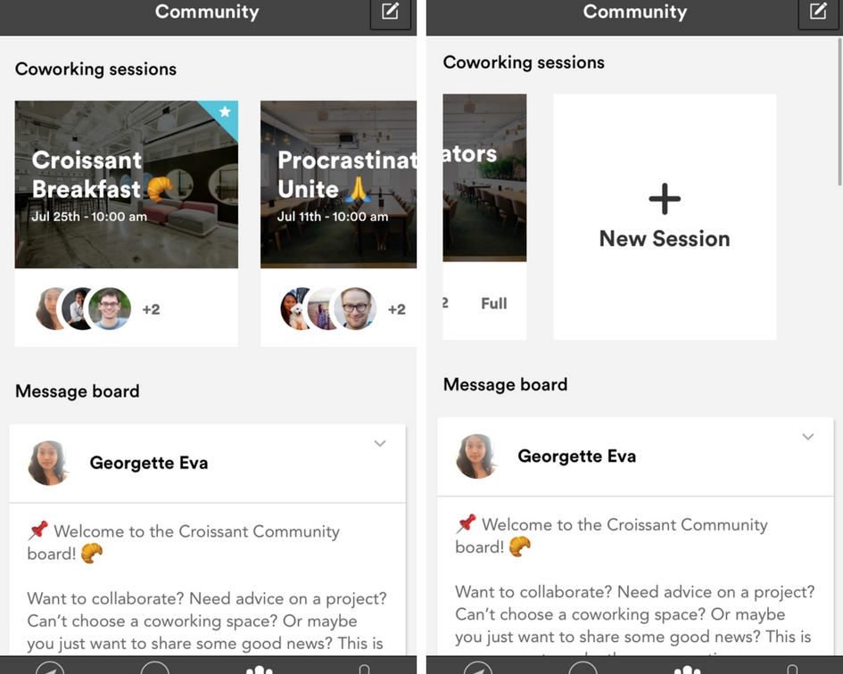 Left: top of the community board on the Croissant app. Right: When you scroll to the right and reach the New Session card.