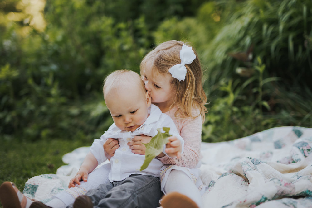 Siblings kissing: Fairfield County Connecticut Lifestyle Family Photography