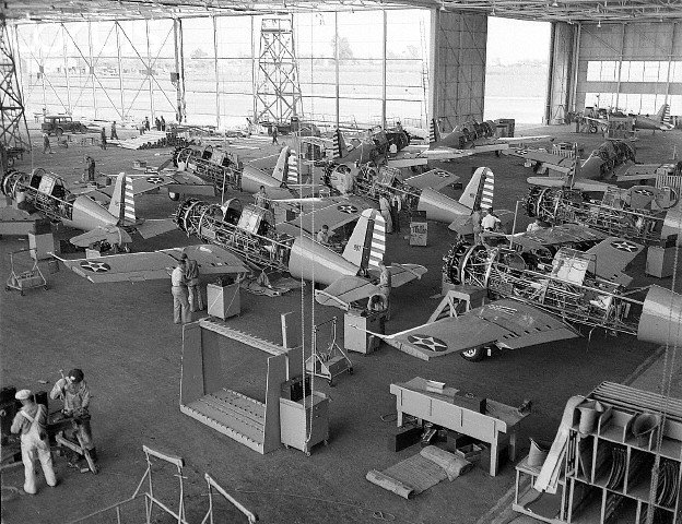 Vultee BT-13 trainers at the Downey plant