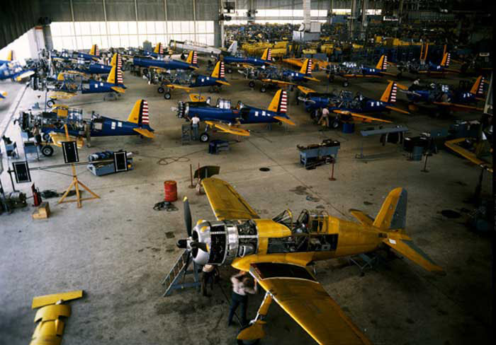 BT-13 trainer's at Vultee, Downey