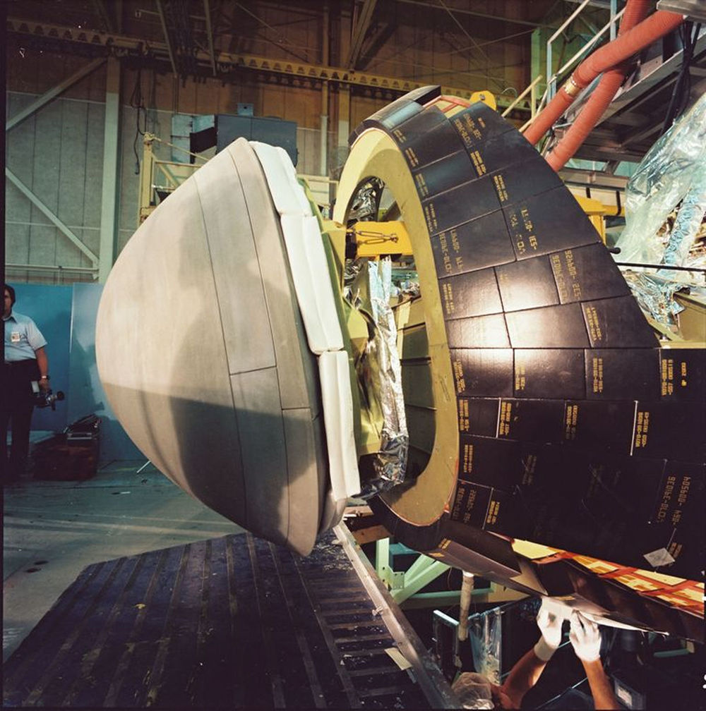 Construction of Atlantis' nose cap continues at Rockwell's Palmdale facility on July 11, 1984..jpg
