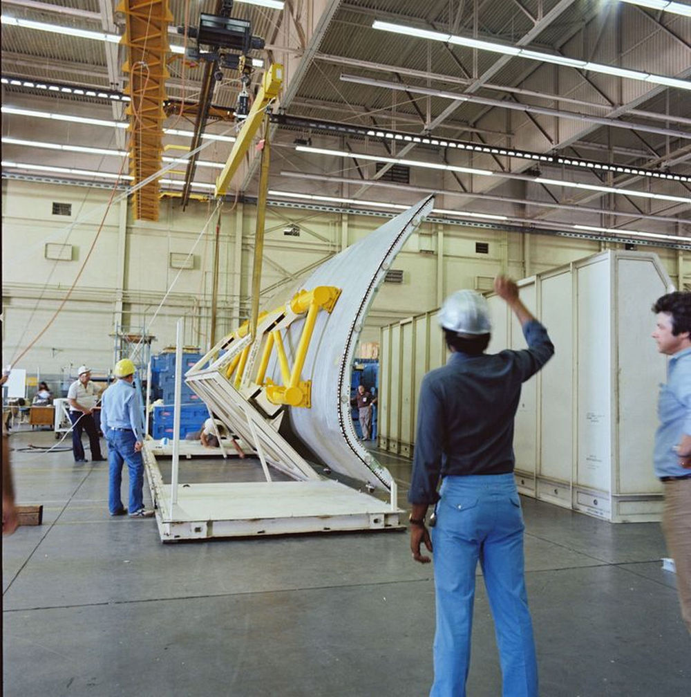 One of Atlantis' payload bay doors is seen in this image from its delivery to Rockwell's Palmdale plant in Sept. 1982..jpg