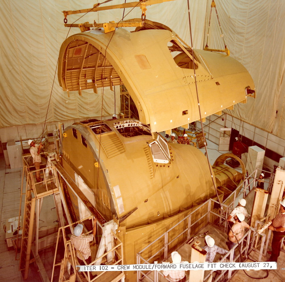 Orbiter 102 Crew Module and forward fuselage fit check aug 27 1977 7000068.jpg