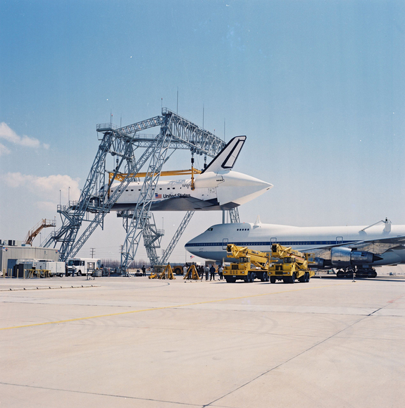 OV-105 Endeavour is mated to the Shuttle Carrier Aircraft (SCA) at Rockwell Palmdale facility on May 1, 1991..jpg