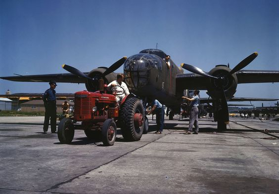 B-25 bomber planes at the North American Aviation, Inc., being hauled
