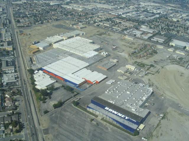 Aerial view of Downey Landing and Downey Studios